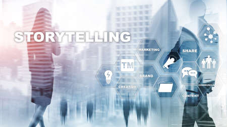 Storytelling. Story Telling Financial Business concept. Abstract blurred background