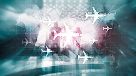 World map with flight routes airplanes. Global Aviation Business Tourism. Double exposure background
