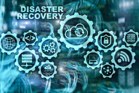 Big Data Disaster Recovery concept. Backup plan. Data loss prevention on a virtual screen.