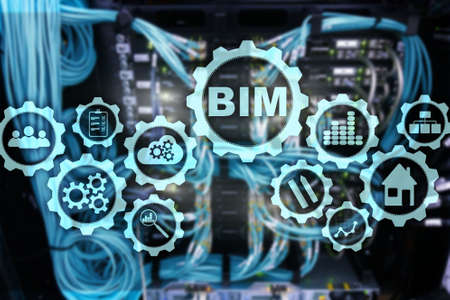 Building Information Modeling. BIM on the virtual screen with a server data center background.