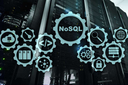 NoSQL. Structured Query Language. Database Technology Concept. Server room background. Stockfoto