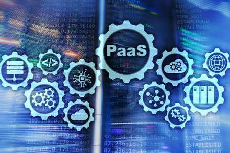 Platform as a service PaaS - cloud computing services concept. Server room background.