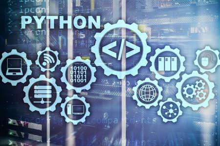 Python Programming Language on server room background. Programing workflow abstract algorithm concept on virtual screen. 版權商用圖片