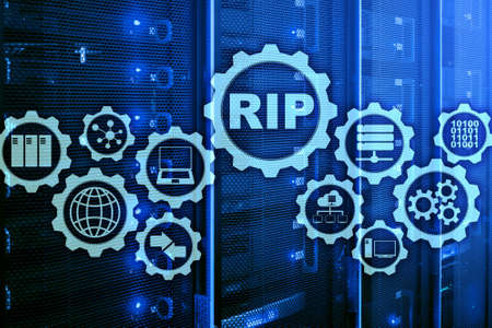RIP Routing Information Protocol. Technology networks concept.