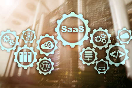 Software as a Service SaaS. Software concept. Modern technology model on a virtual screen server room background. Software On Demand.