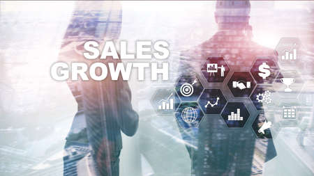 Chart growth concept. Sales increase, marketing strategy. Double exposure with business graph. Reklamní fotografie
