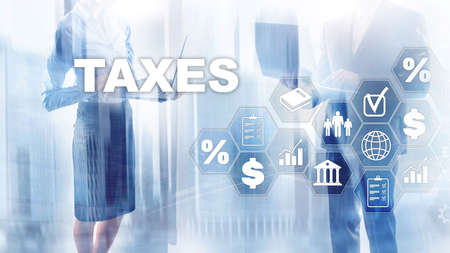 Concept of taxes paid by individuals and corporations such as vat, income and wealth tax. Tax payment. State taxes. Calculation tax return.