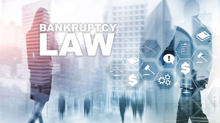 Bankruptcy law concept. Insolvency law. Judicial decision lawyer business concept. Mixed media financial background. Stock Photo
