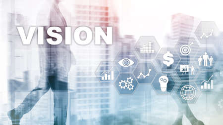 Vision concept. Business people and modern city on background. Virtual screen mixed media