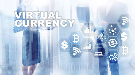 Virtual Currency Exchange, Investment concept. Currency symbols on a virtual screen. Financial Technology Background.