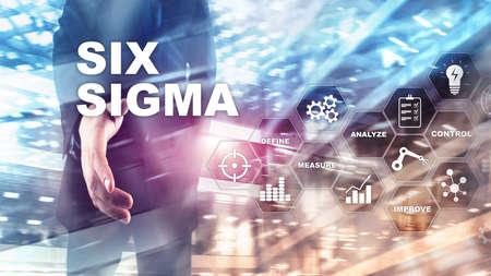 Six Sigma, Herstellung, Qualitätskontrolle und Verbesserungskonzept für industrielle Prozesse. Wirtschaft, Internet und Technik.