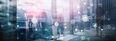 Concetto di innovazione di automazione del diagramma del flusso di lavoro industriale della struttura del processo aziendale su supporti misti dello schermo virtuale. Archivio Fotografico