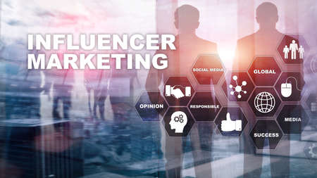 Influencer marketing concept in business. Technology, Internet and network. Abstract background mixed media. Banque d'images
