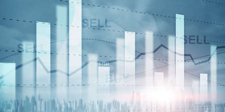 Stock market or forex trading graph in graphic double exposure. Abstract business finance background Banco de Imagens