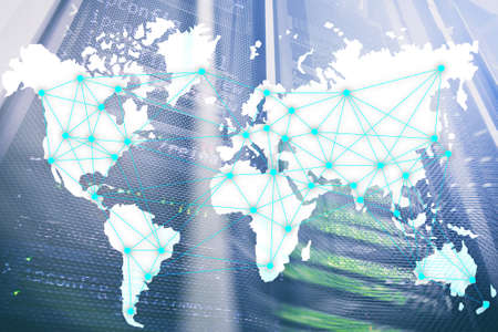 Internet and telecommunication concept with world map on server room background.