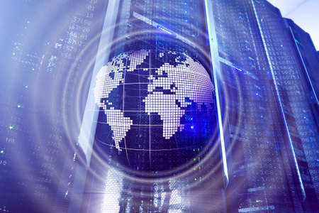 Planet Earth Hologram Globe Global communication World Wide Business concept. Banco de Imagens - 124844110