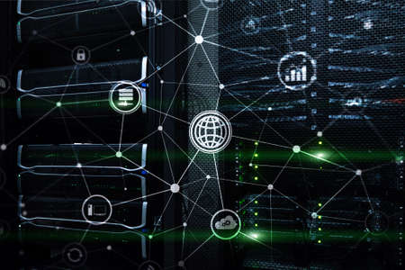 ICT - information and telecommunication technology and IOT - internet of things concepts. Diagrams with icons on server room backgrounds. Banco de Imagens - 124844109