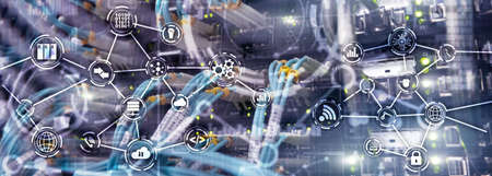 Universal Electronics Technology Background. Internet Concept of global business. Server rack blurred background.