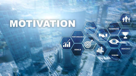 Motivation concept with business elements. Business team. Financial concept on blurred background. Mixed media.