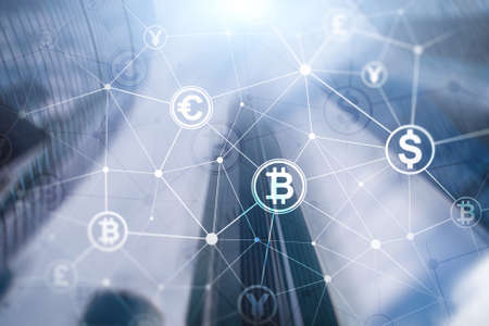 Double exposure Bitcoin and blockchain concept. Digital economy and currency trading. Banco de Imagens - 124844242