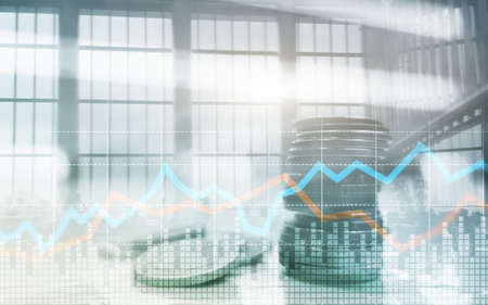 Double exposure of city and rows of coins with stock and financial graph on virtual screen. Business Investment concept. Banco de Imagens - 124844241