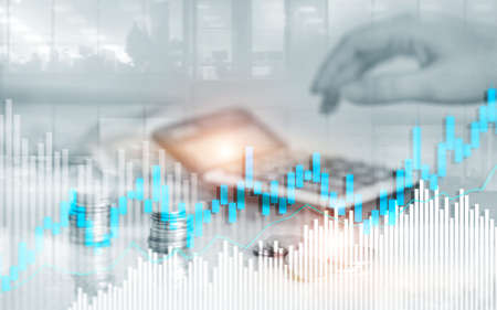 Stock trading candlestick chart and diagrams. Abstract double exposure finance background. Banco de Imagens - 124844246