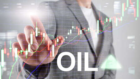 Oil trend up. Crude oil price stock exchange trading up. Price oil up. Arrow rises. Abstract business background.