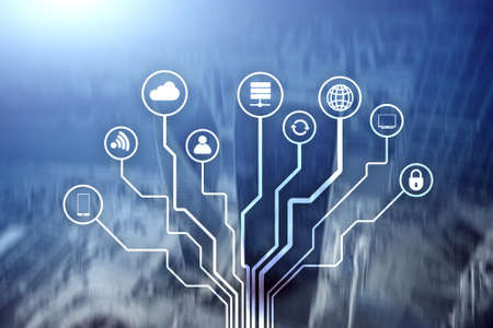 Telecommunication and IOT concept on blurred business center background.