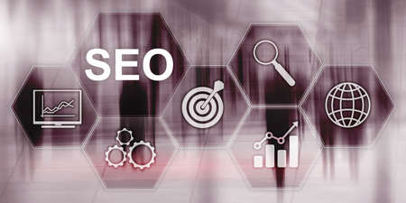 Searching Engine Optimizing SEO on abstract business background. Mixed media. Stok Fotoğraf