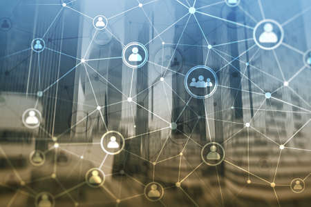 Double exposure people network structure HR - Human resources management and recruitment concept. Stok Fotoğraf