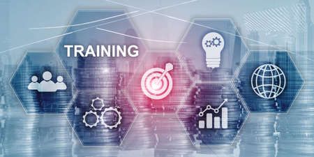 Training Webinar Business Internet Technology Concept. Inscription on virtual screen: TRAINING Banco de Imagens - 124844256