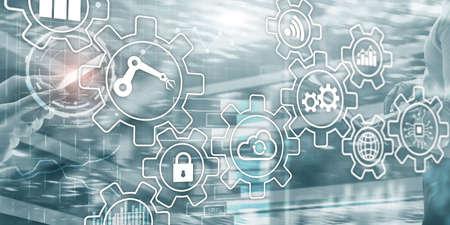 Business process Automation Smart industry Artificial Intelligence. Gears mechanism mixed media. Stok Fotoğraf