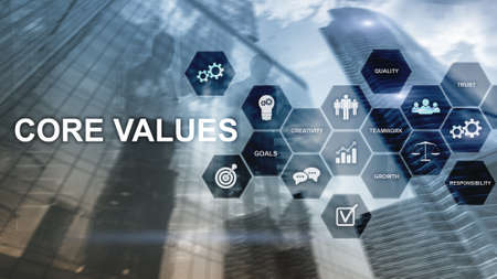 Core values concept on virtual screen. Business and finance solutions. Banco de Imagens