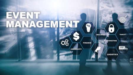 Event management Concept. Event management flowchart. Event management related items. Mixed media business. Stok Fotoğraf