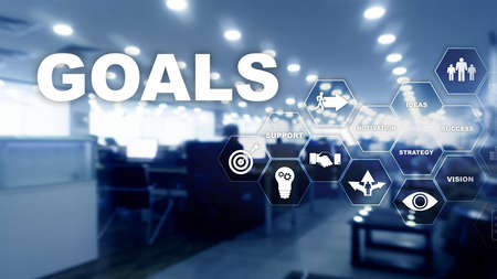 Target Goals Expectations Achievement Graphic Concept. Business development to success and growing growth Stok Fotoğraf