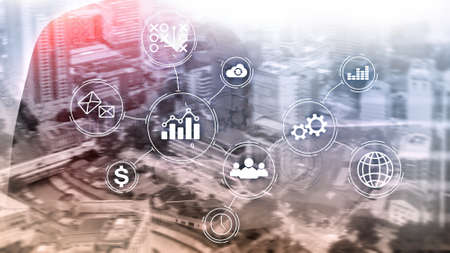 Business process automation concept on blurred background. Banco de Imagens - 124844349