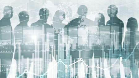 Universal Abstract background. Silhouettes of Business People. Economic growth graph chart. Double exposure mixed media