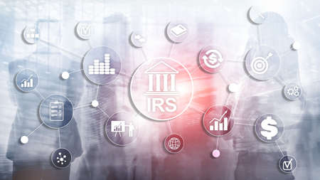 Internal Revenue Service. IRS Ministry of Finance. Abstract Business background. Banco de Imagens - 124844295
