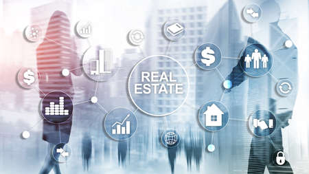 Real estate. Property insurance and security concept. Abstract business background Stok Fotoğraf