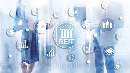 Real Estate Investment Trust REIT on double exsposure business background Banco de Imagens - 124844301