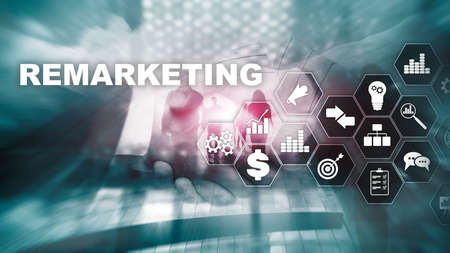 Remarketing Business Technology. Internet and network concept. Mixed media. Financial concept on blurred background Banco de Imagens - 124844302