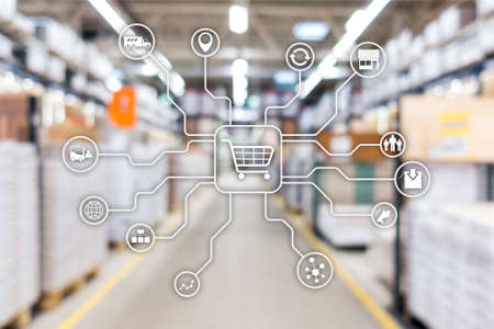 Retail marketing channels E-commerce Shopping automation concept on blurred supermarket background