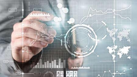 Business intelligence BI Key performance indicator KPI Analysis dashboard transparent blurred background. Banco de Imagens - 124844308