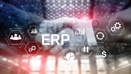 ERP system, Enterprise resource planning on blurred background. Business automation and innovation concept Banco de Imagens - 124844313