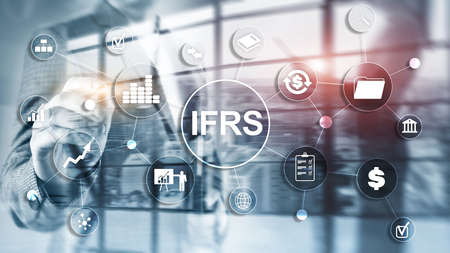 IFRS International Financial Reporting Standards Regulation instrument. Banco de Imagens - 124844383