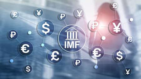 IMF International monetary fund global bank organisation. Business concept on blurred background Banco de Imagens - 124844385