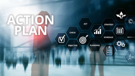 Action Plan Strategy Planning Vision Direction. Financial concept on blurred background Banco de Imagens - 124844387