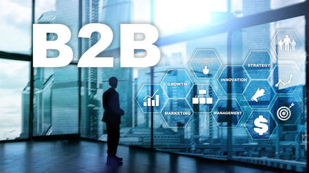 Business to business B2B - Technology future. Business model. Financial technology and communication concept. Banco de Imagens - 124844384