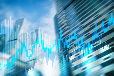 Stock trading candlestick chart and diagrams on blurred office center background Banco de Imagens - 124844390