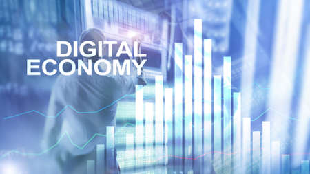 DIgital economy, financial technology concept on blurred background. Stock Photo